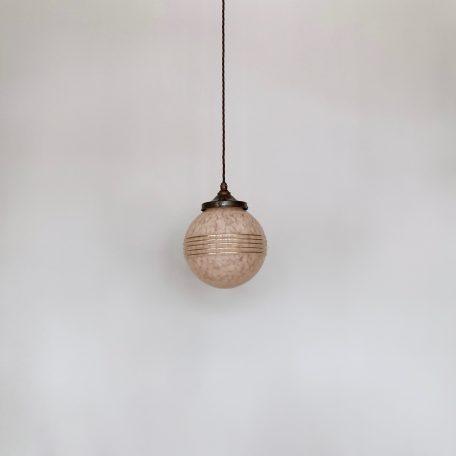 French Pale Pink Mottled Globe Shade with Gold Details