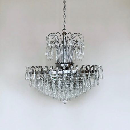 Late 20th Century Chrome Waterfall Chandelier