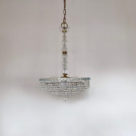 Late 20th Century Crystal Button Waterfall Chandelier with Glass Stem