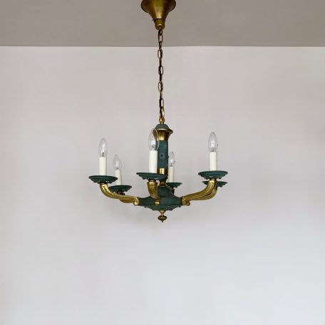 Mid Century Green and Brass Chandelier with Brass Star Details