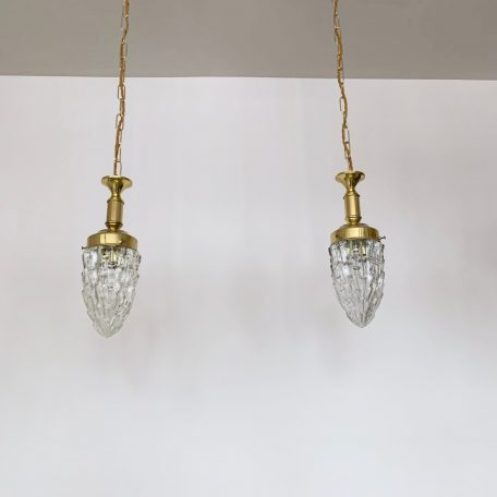 Pair of French Textured Glass Shades with Brass Fittings