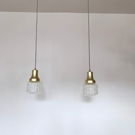Pair of Mid Century French Clear Textured Glass Shades with Brass Fittings