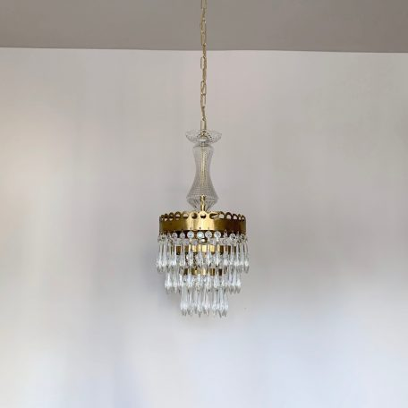 Three Tier Brass Chandelier with Glass Stem