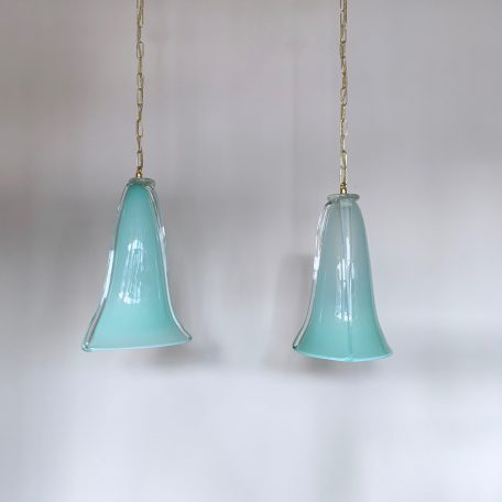Two Aqua Blue Murano Glass Pendants