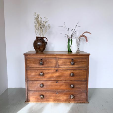 Veneered Chest of Drawers with Turned Handles