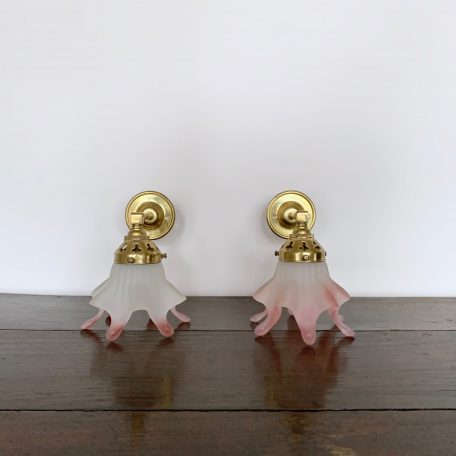 French Brass Wall Lights with Frosted and Pink Glass Shades