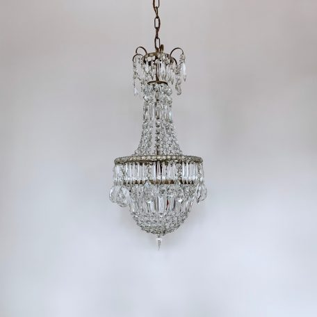 1920s English Crystal Tent and Bag Chandelier