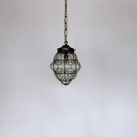 1920s English Yellow Blown Glass Lantern