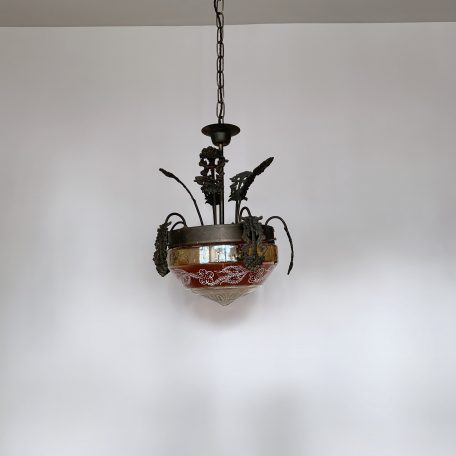 1920s French Coloured Glass Hall Pendant