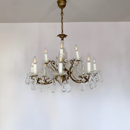 20th Century French Brass Chandelier with Glass Flat Leaf Drops
