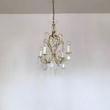 Delicate French Brass Chandelier with Flat Leaf Drops
