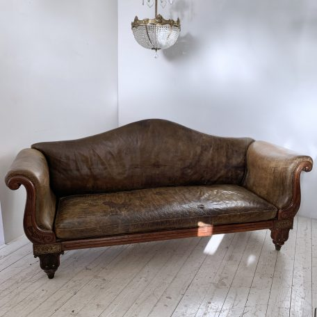 Early 19th Century Regency Brass Inlaid Rosewood Leather Couch