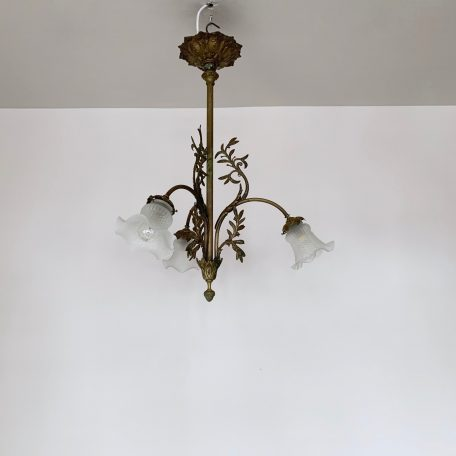 Early 20th Century French Ornate Brass Chandelier with Frosted Shades