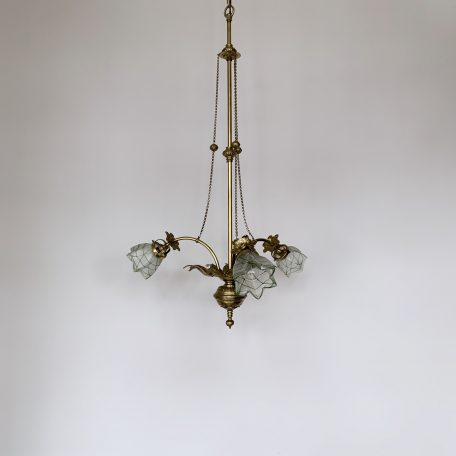 Edwardian Brass Downlighter with Frosted Decorative Shades