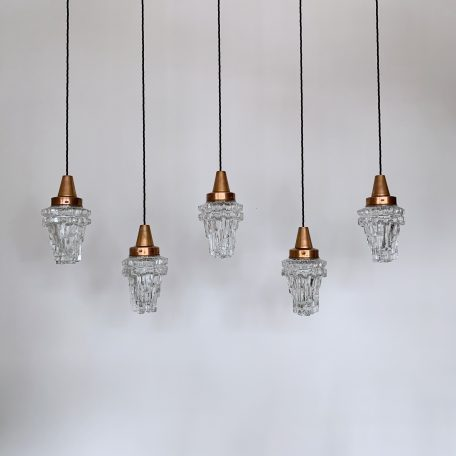 Five Mid-Century Enclosed Textured Glass Shades with Copper Galleries