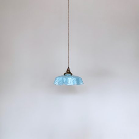 French Blue Clichy Glass Handkerchief Shade
