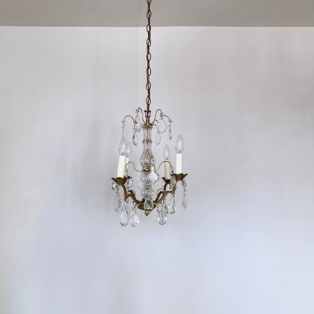 French Louis XIV Style Chandelier with Glass Flat Leaf and Crystal Drops