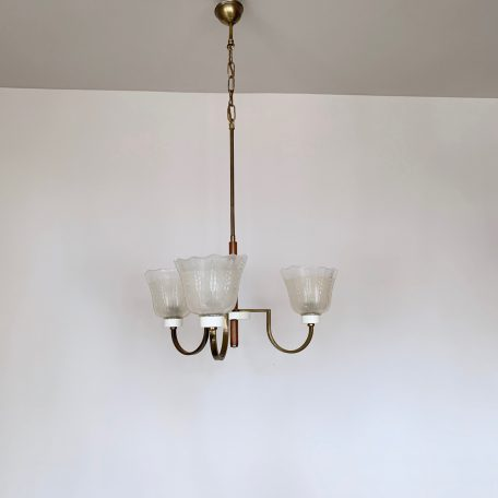 French Three Arm Chandelier with Frosted Shades