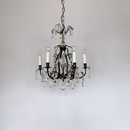 Italian Dark Brass Chandelier with Glass and Crystal Drops
