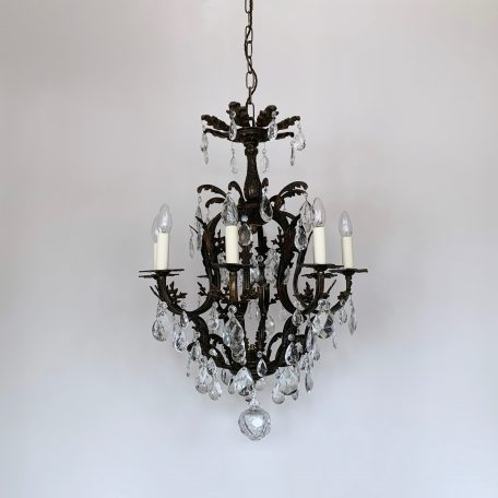 Large Dark Brass Birdcage Chandelier with Glass and Crystal Pear Drops