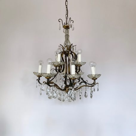 Large French Brass Birdcage Chandelier with Glass Pear Drops
