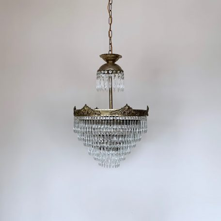 Large French Brass Waterfall Chandelier