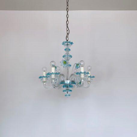 Mid-Century Italian Murano Blue Glass Floral Chandelier