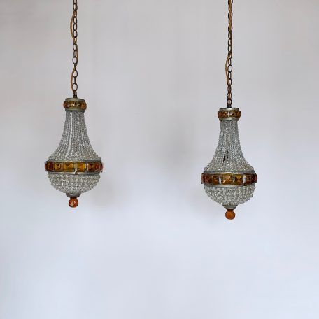 Pair of Crystal Balloon Chandeliers