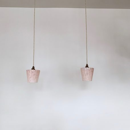 Pair of French Pink Clichy Glass Shades