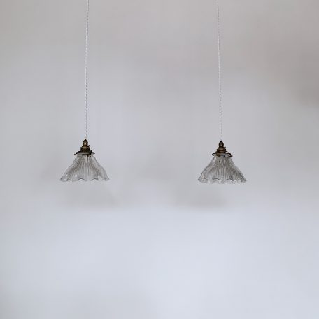 Pair of Small Frill Stamped Holophane Shades