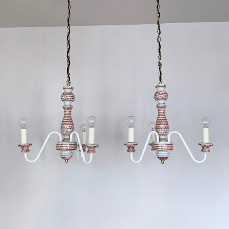 Pair of Vintage French Decorative Ceramic Chandeliers