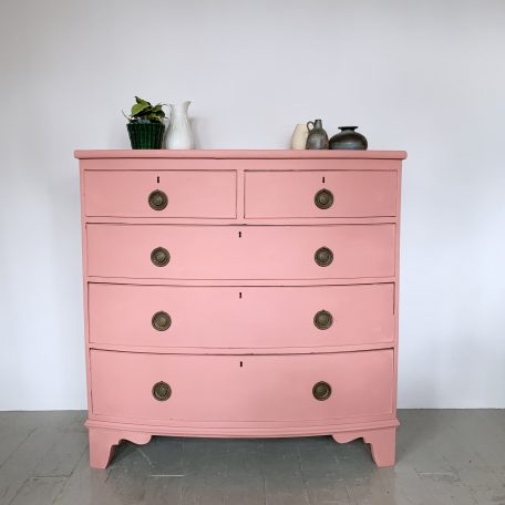 Pink Painted Chest of Drawers with Brass Handles