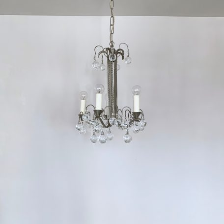 Small French Silver Nickel Chandelier with Crystal Globe Drops