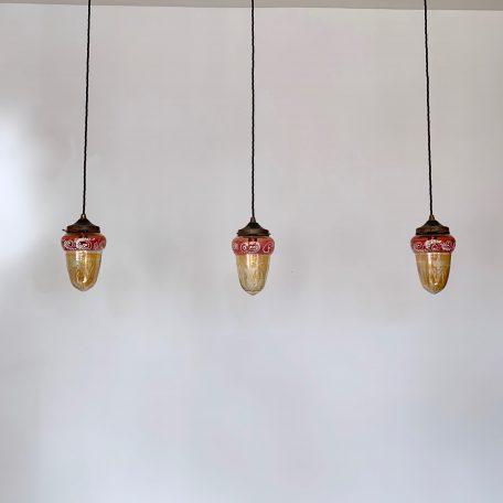 Three 1920s Coloured Glass Shades