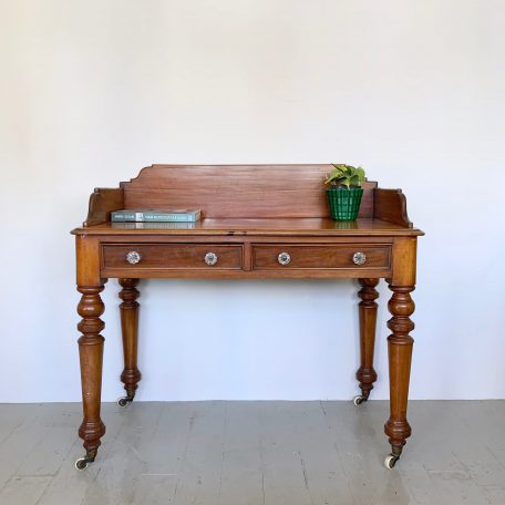 Victorian Desk or Wash Stand with Floral Glass Handles