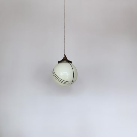 French Yellow Globe Shade with Chrome Band Details