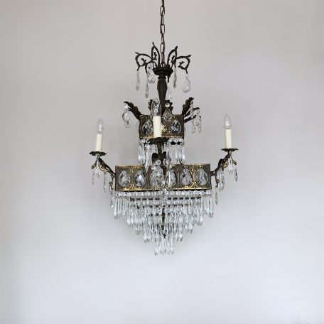 1920s French Square Brass Waterfall Chandelier