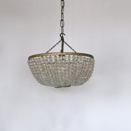 Brass Beaded Glass Basket Pendant