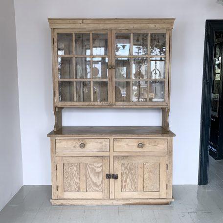 Large Glazed English Pine Farmhouse Dresser