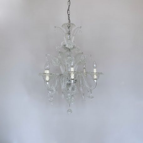 Large Mid-Century Italian Clear Glass Floral Chandelier