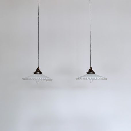 Two French Handkerchief Glass Shades