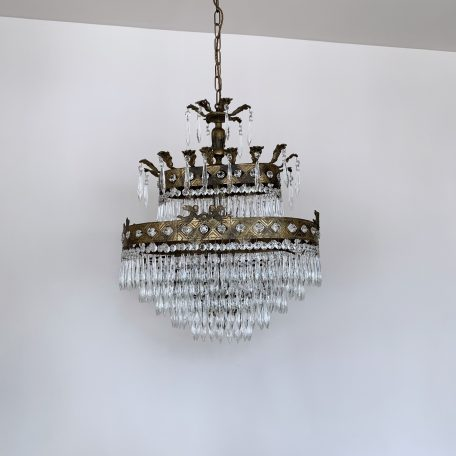 1920s French Large Oval Waterfall Chandelier