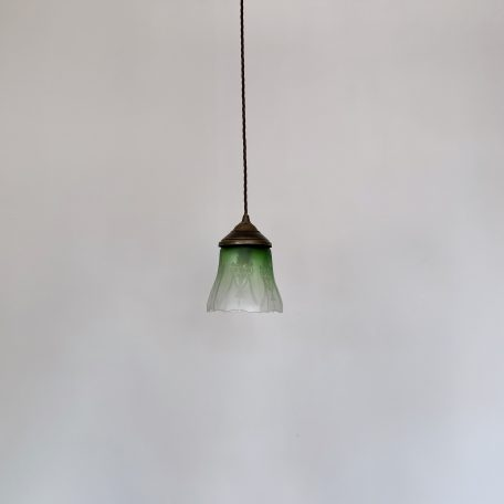 Acid Etched Frosted Green Glass Shade
