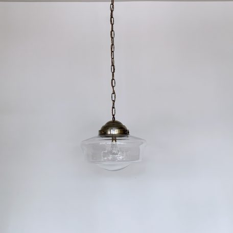 Contemporary Clear School House Shades with Antiqued Brass Galleries
