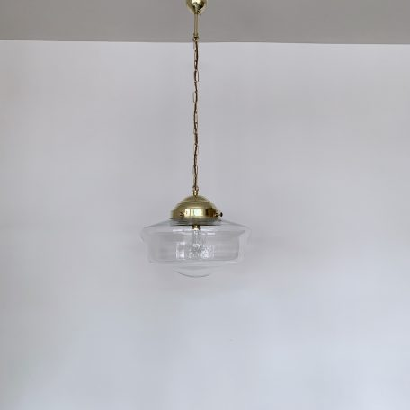 Contemporary Clear School House Shades with Polished Brass Galleries