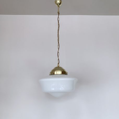 Contemporary School House Shades with Polished Brass Galleries