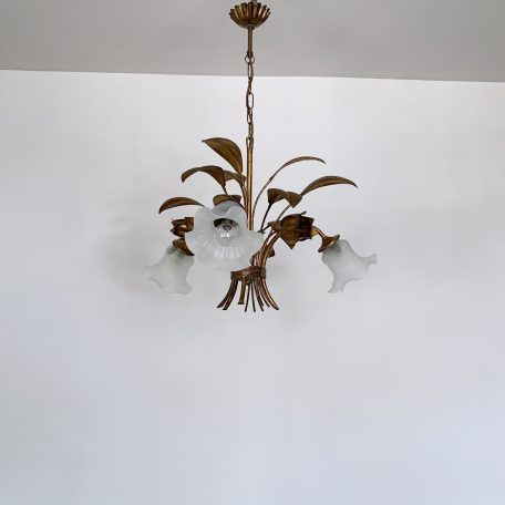 Floral Toleware Chandelier with Frosted Shades