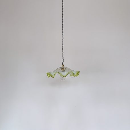 French Clear Handkerchief Frill Shade with Green Edge