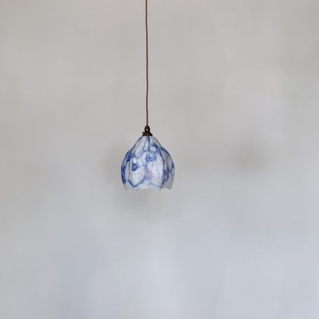 French Deco Blue Mottled Glass Shade