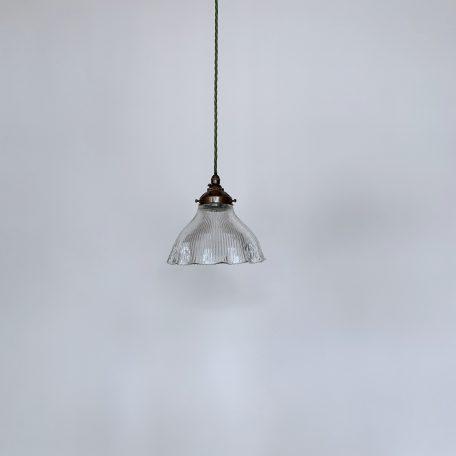 Frilled Holophane Glass Shade